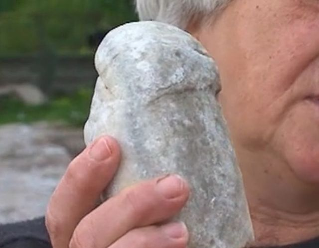 This artifacts is alleged to be a giant marble phallus that was part of an ancient statue of god Hermes. It has been found at the Koloto Mount which is believed to have been a Thracian shrine. Photo: TV grab from bTV