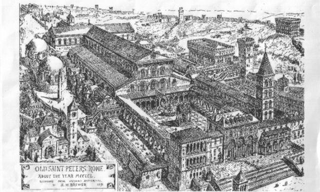This 19th century drawing of what the Old St. Peter's Basilica in Rome looked like in the 15th century has led the Bulgarian National Museum to conclude that the 9th century AD Great Basilica in Pliska, capital of the First Bulgarian Empire in 680-893 AD, must have been modeled on it, possibly thanks to Papal envoy Bishop Formosus (late Pope Formusus) in the 860s. Photo: Wikipedia