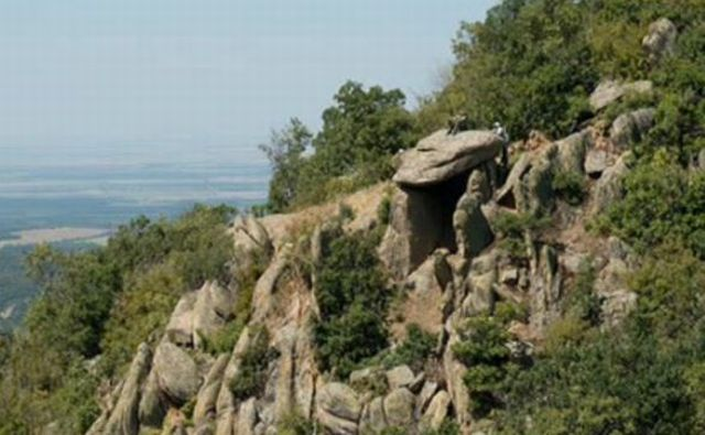 """Another view of the newly found dolmen and the megalithic site near Bulgaria's Zlatosel which date to """"at least the 2nd millenium BC"""". Photo: TV grab from BNT"""