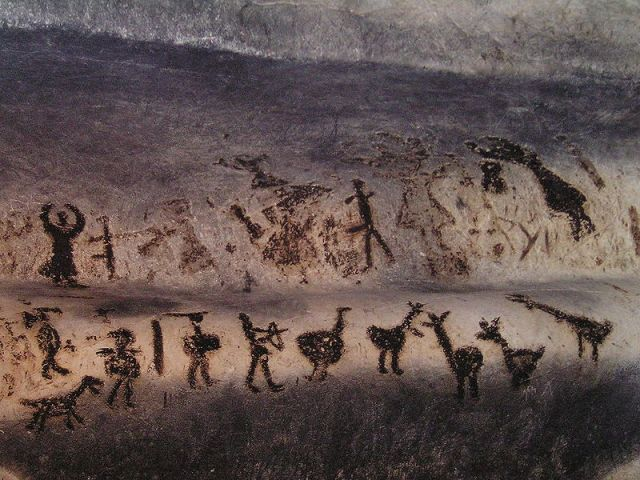 The most popular prehistoric drawing from Bulgaria's Magura Cave is from the Cult Hall and depicts a large dance and hunting scene in two rows. Photo: Nk, Wikipedia