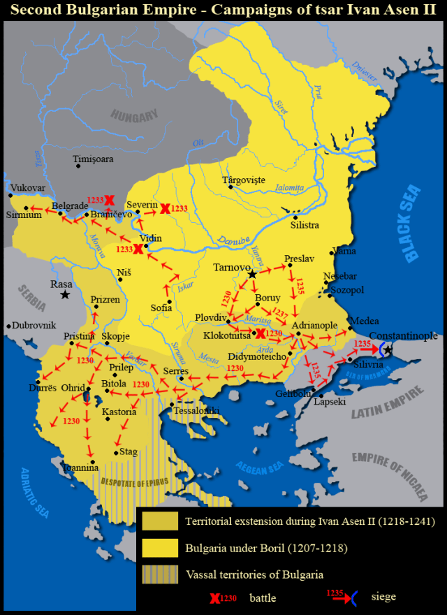 The military campaigns and battles of Tsar Ivan ASen II of the Second Bulgarian Empire. Map by Kandi, Wikipedia
