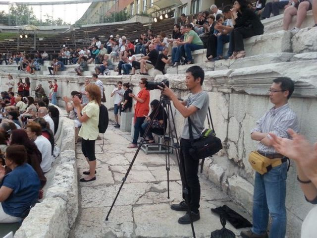 The Chinese crew is seen here filming in the Ancient Theater in Bulgaria's Plovdiv. Photo: Bulgarian - Chinese Business Development Association