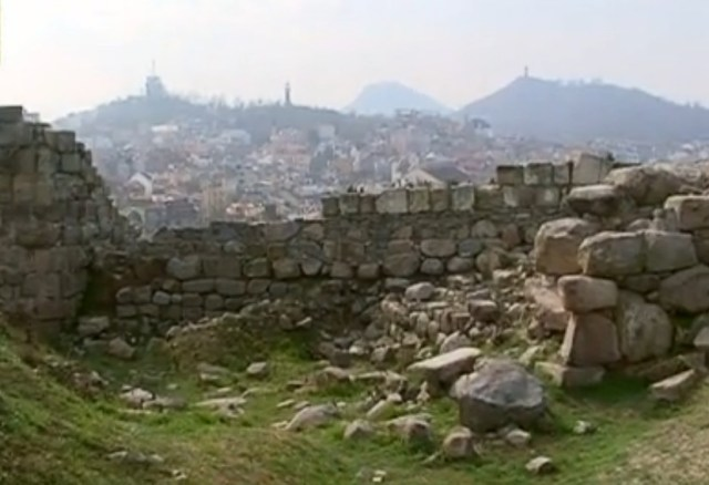 Part of the visible ruins of the Nebet Tepe Fortress in Bulgaria's Plovdiv. Photo: TV grab from BNT 2