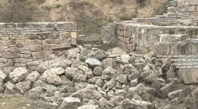The ruins of the Knyazheski Monastery near Bulgaria's Varna show that the Antiquity construction technique of combining bricks and stone that was used for its construction. Photos: TV grabs from bTV