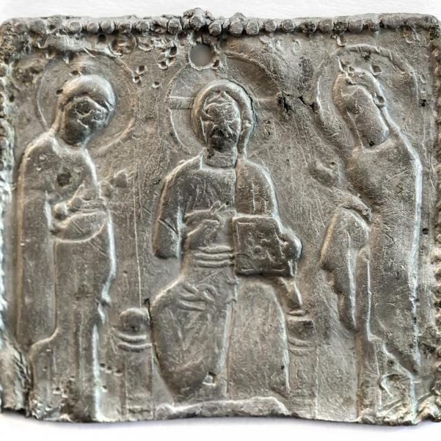 This 14th century Bulgarian silver icon showing Jesus Christ, the Virgin Mary, and St. John the Baptist has made its way to the collection of the National Museum of History in Sofia. Photo: National Museum of History in Sofia