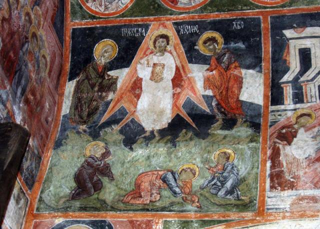 """The mural of the Transfiguration of Jesus Christ in the Dobrarsko Church which has been interpreted in media publications as depicting Jesus inside a """"space rocket"""" with images of the Earth's atmosphere and stratosphere in the background - an interpretation widely criticized by experts. Photo: Pravoslavieto"""