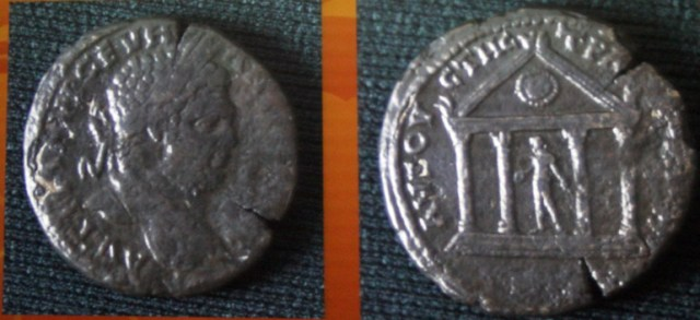 Another coin from Augusta Traiana showing Emperor Caracalla on one side, and a temple of Apollo - on the other. Photo: Stara Zagora Regional Museum of History