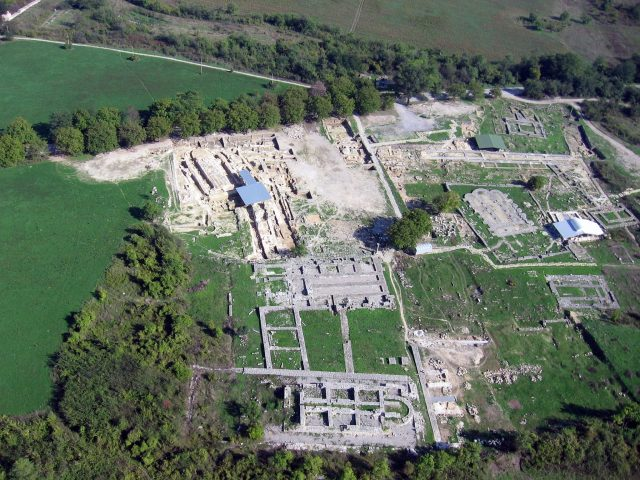 An aerial view of the ruins of a palace and the Bulgarian Patriarchate in the Inner City of Veliki Preslav (capital of Bulgaria in 893-970 AD). Photo: National Institute and Museum of Archaeology, Europeana Carare Project