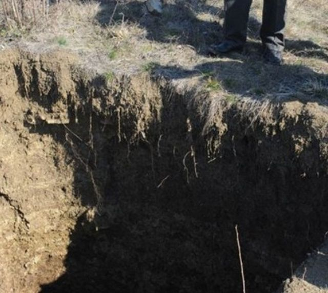 A pit freshly dug by looting treasure hunters. Pits like that one dot the landscape all over rural Bulgaria. Photo: Trud daily