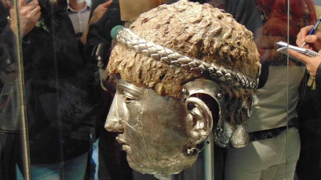 The mask helmet is made of iron and silver. Photo: BGNES
