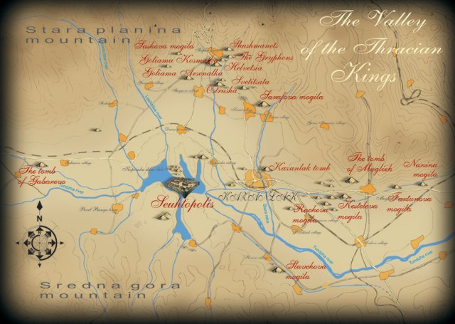 Map of the Valley of Odrysian Thracian Kings in Central Bulgaria (i.e. the Kazalank Valley). Map: Kazanlak Sustainable Tourism Association