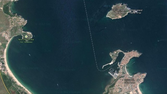 A Google Maps image showing the islands of St. Ivan and St. Petar, and the town of Sozopol with the St. Cyricus Island (today a peninsula), and the Stolets (Scamnium) Peninsula. Photo: Google Maps