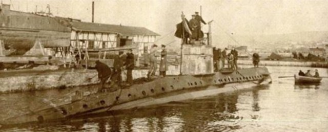 "The first Bulgarian submarine UB-18 called in Bulgarian ""Podvodnik-18"". Photo: Naval Museum"