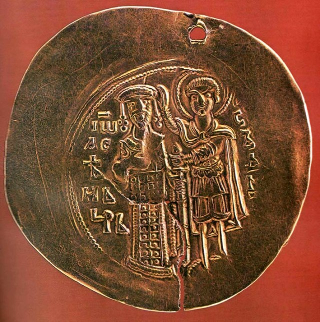 A gold coin minted by Tsar Ivan Asen II of the Second Bulgarian Empire; the image shows St. Demetrius of Thessaloniki placing a crown on his head, 18-carrat gold. Photo: Wikipedia