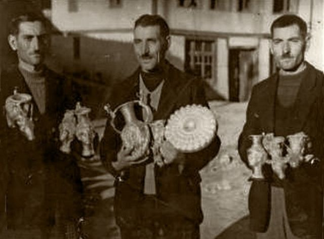 The three brothers who discovered the treasure by accident in 1949 posing with their finds. Photo: Panagyurishte Museum of History