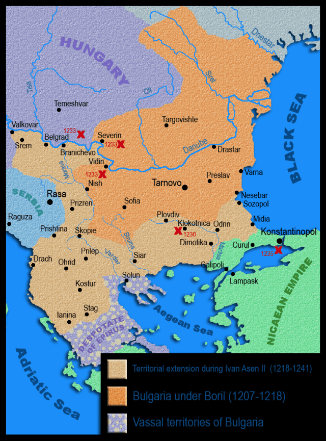 A map of the Second Bulgarian Empire before and during the reign of Tsar Ivan Asen II. Map: Kandi, Wikipedia