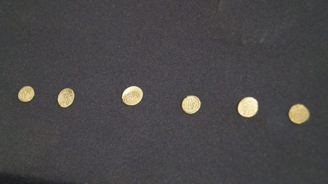 These six Early Ottoman coins are believed to have been carried by a Turkish soldier during an assault on Missionis/Kosovo Fortroess, today's Targovishte in Northeast Bulgaria. Photo: Targovishte Municipality