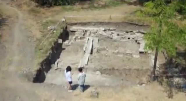 Aerial views of the ruins of the newly discovered commerce control office in the Roman city of Nicopolis ad Istrum. Photo: TV grab from BNT