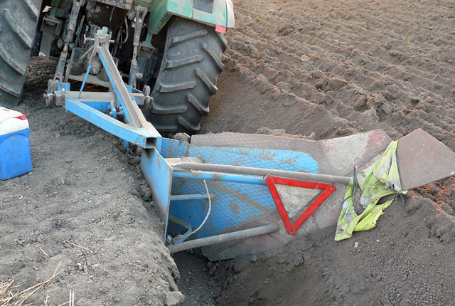 "The tractor used by the arrest treasure hunters for ""trenching"" near Bulgaria's Petarnitsa in order to reach the deeper archaeological layers. Photo: Interior Ministry Press Center"