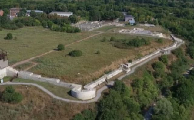 Aerial views of the partly restored ruins of ancient Abritus near Bulgaria's Razgrad. Photos: TV grabs from BNT
