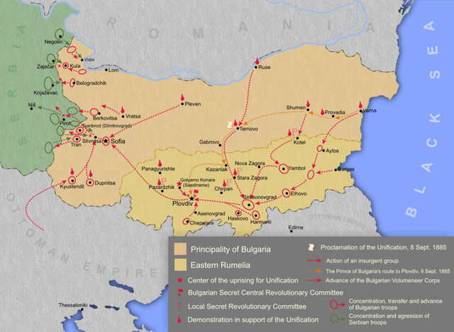 A map showing the Unification of the Principality of Bulgaria and Eastern Rumelia on September 6, 1885, and the Serbian-Bulgarian War of November 1885. Map: Kandi, Wikipedia