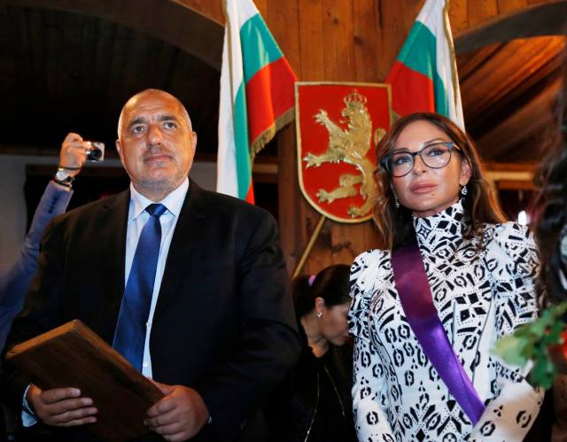 "Borisov and Aliyeva during the ceremony in which Veliko Tarnovo Municipality awarded the latter an ""Honorary Citizen"" title. Photo: Bulgarian Prime Minister's Facebook Page"