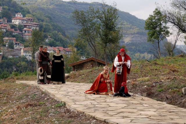 The museum staff in charge of the Trapesitsa Fortress dressed up in medieval clothing for the opening. Photo: Bulgarian Prime Minister's Facebook Page