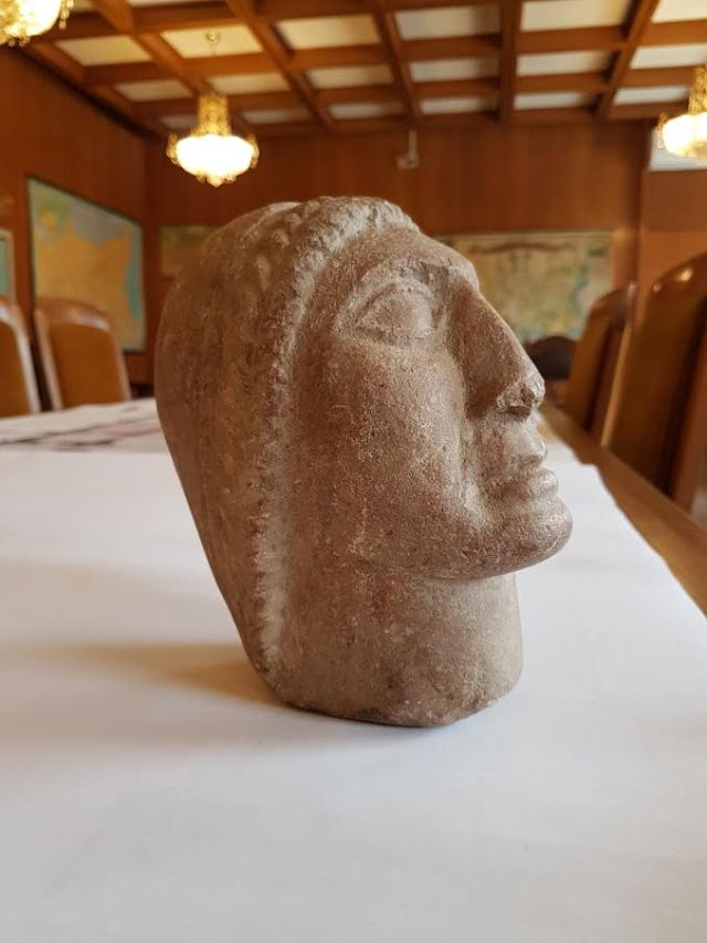"The stone head of Apollo wearing a wreath is said to have been found by accident in a ""potato field"" near Bulgaria's Stara Zagora. Photo: National Museum of History"