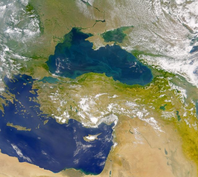 A satellite image of the Black Sea and the Eastern Mediterranean. Photo: Originalwana, Wikipedia