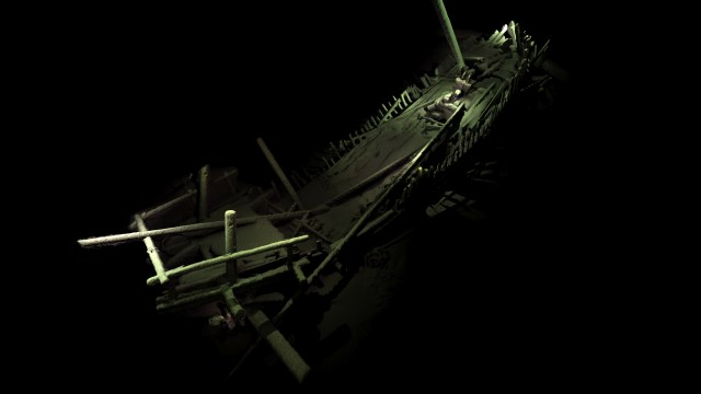 "The sunken Pre-Columbian Mediterranean ""round ship"" in Bulgaria's Black Sea zone is the first of its kind to have been discovered in full. Photo: Black Sea M.A.P."