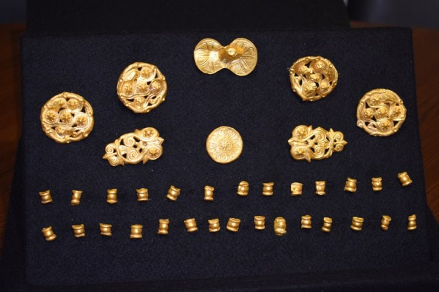 The newly discovered Primorsko Gold Treasure consists of 8 large and 29 small horse harness appliques. Photo: Primorsko Municipality