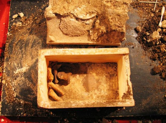 The St. John the Baptist relics – five bone particles and a tooth – at the time of the opening of the 4th century reliquary (on August 1, 2010) they were found in dug up from an Early Christian basilica on the St. Ivan Isalnd near Bulgaria's Sozopol. Photo: Archaeologist Prof. Kazimir Popkonstantinov
