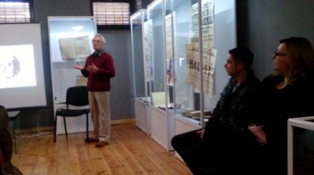 Archaeologist Peti Donevski, 70, during the presentation of his book of research papers covering decades of research on Roman cities Durostorum and Novae. Photo: Svishtov Municipality