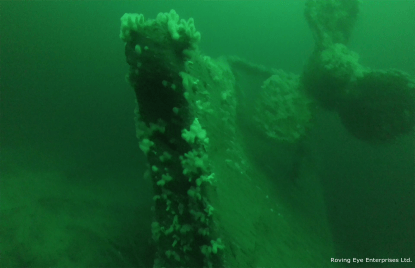 Stern of HMS Hampshire showing the portside bronze propellor. The rudder lies on the seabed. The starboard propellor was previously slavaged. Image by Roving Eye Enterprises Ltd.