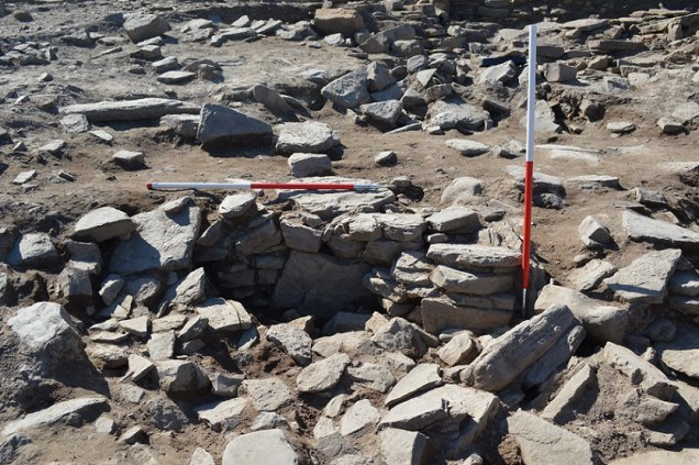Newly emerging walls in Trench Q- evidence of the broch village to the north of the site