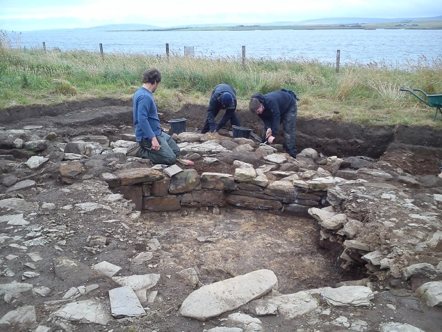 The inner face of the Great wall of Brodgar once again see the light of day