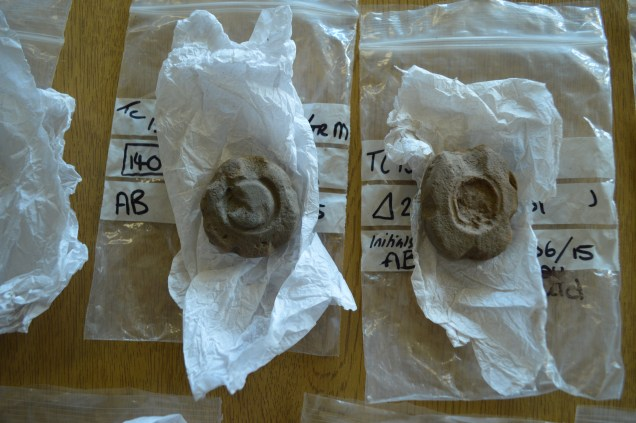Two moulds for casting penannular brooches