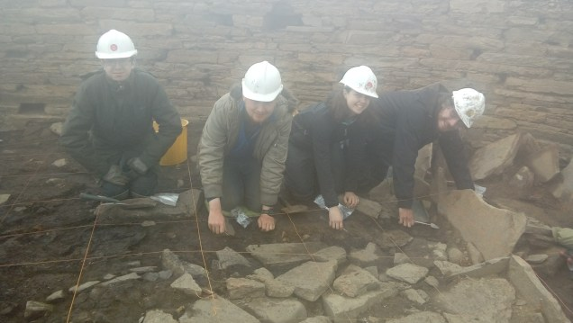 Excavating in the western zone of the broch today