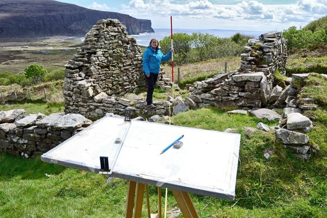 Plane table survey of the 'House-that-was-built-in-a-day' during the Rackwick Survey in Hoy, Orkney. (Dan Lee/ORCA)