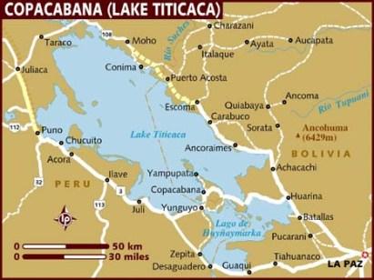 Map of Lake Titicaca, in Peru (Source: lonelyplanet.com)