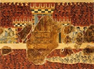 Reconstructed Fresco of a Tripartite Shrine