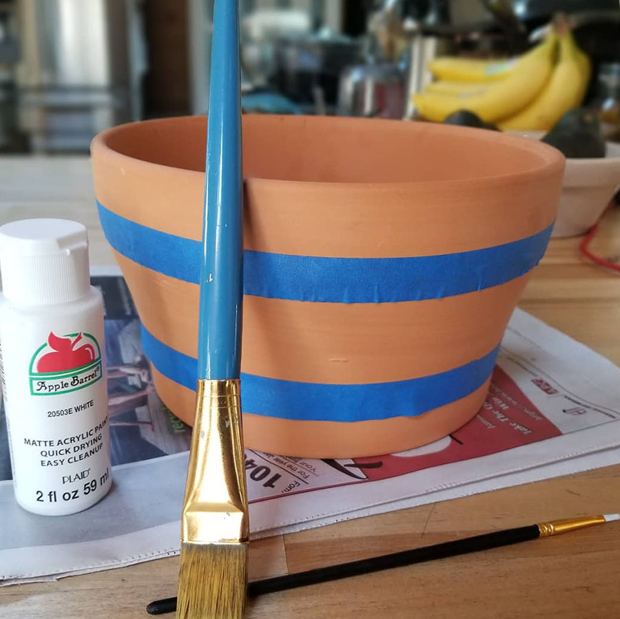 Terra Cotta Pot - paint prep