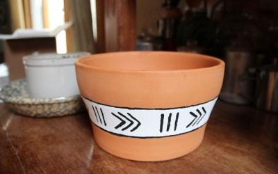 Unique Terra Cotta Pots with Mud Cloth Pattern