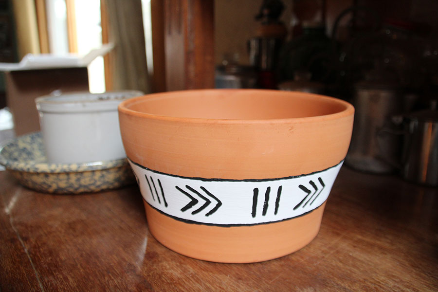 Unique Terra Cotta Pots with Mud Cloth Pattern