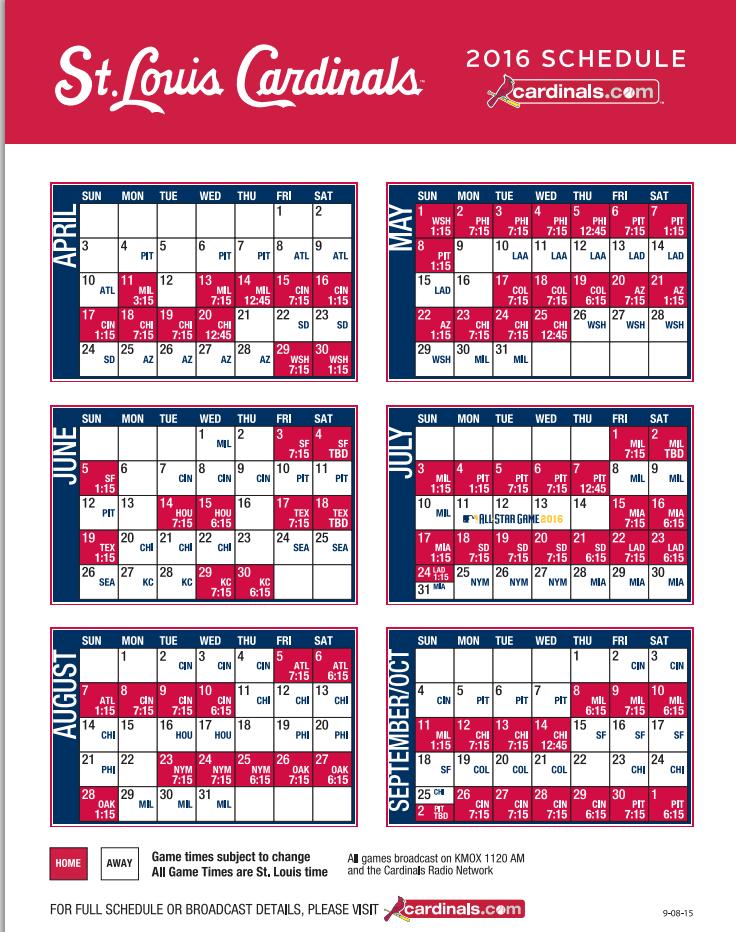 d5de024a Cardinals Announce 2016 Regular Season Schedule | ArchCity.Media