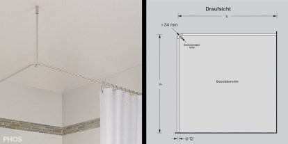 l shaped shower curtain rod by phos