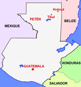 Les sites mayas d'Holmul et de Tikal au Guatemala.