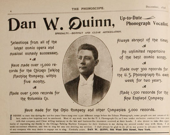 Dan Quinn advertises his services in The Phonoscope, December 1896.