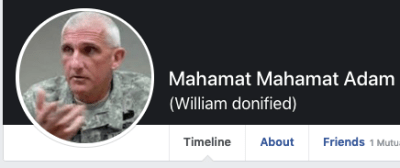Fake Facebook profile showing a real general's picture