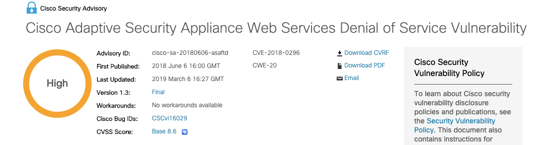 Cisco announced a security vulnerability and patch for its ASA devices in June 2018.